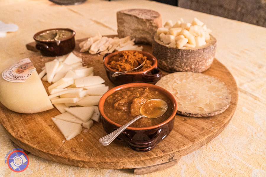 Platter of cheeses served at the Abbey in Italy.