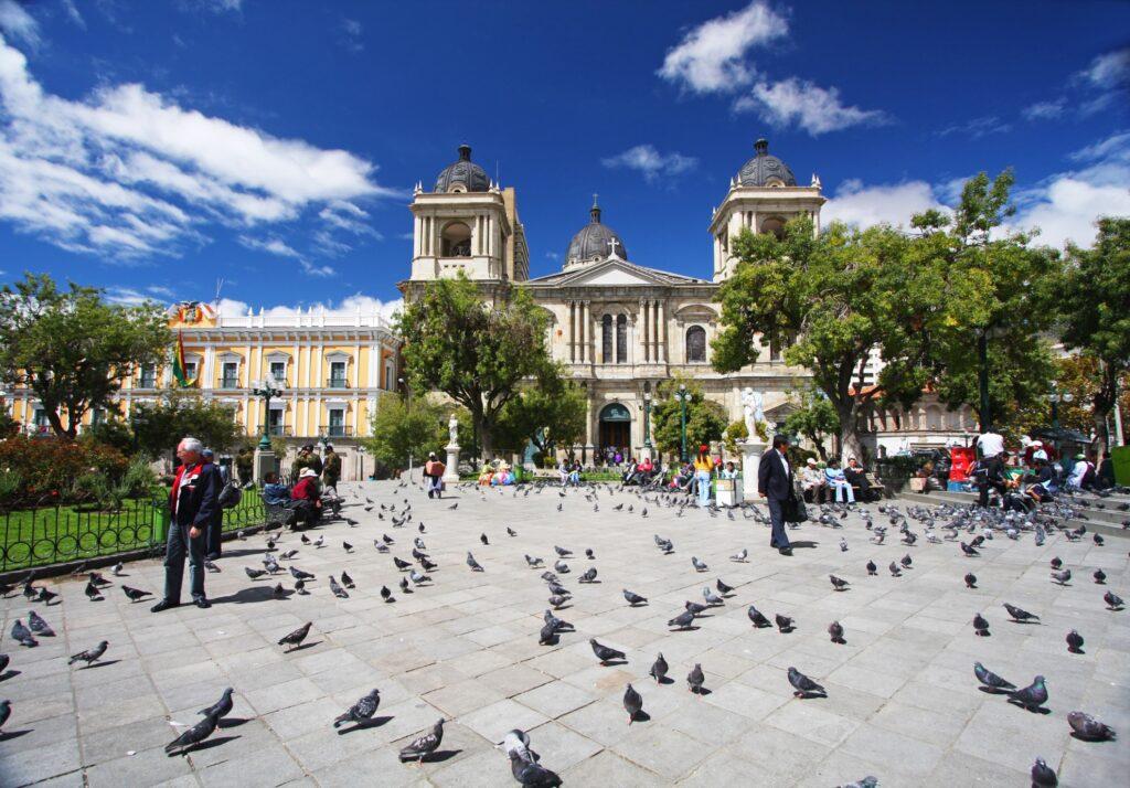 Plaza Murillo in downtown La Paz, Bolivia.