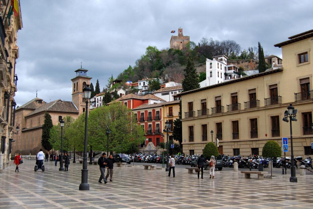 Plaza Nueva in Granada, Spain.