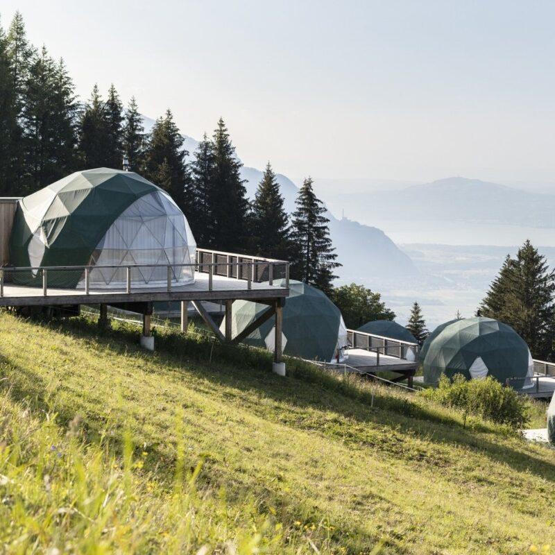 Pods at Whitepod in Valais, Switzerland.