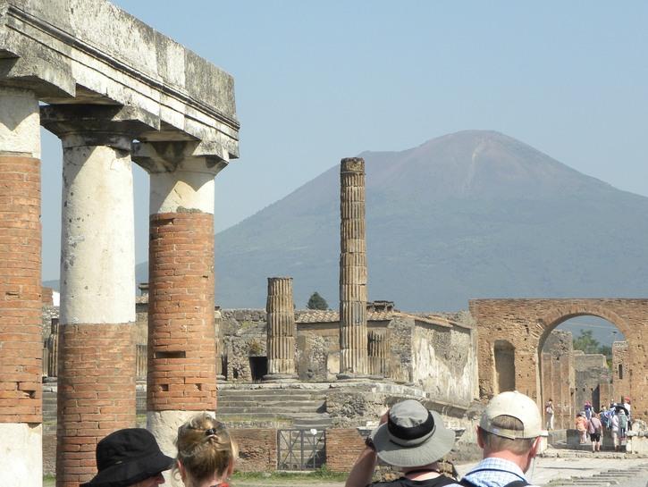 Pompeii with Mount Vesuvius in the background.