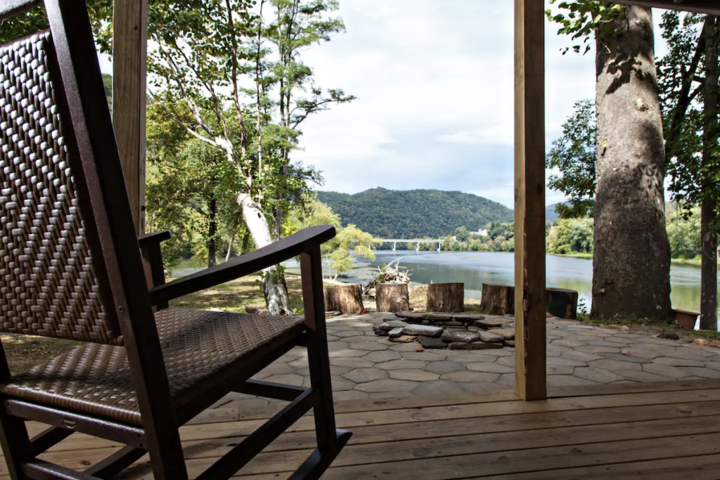 Porch views at the Airbnb cabin in New River Gorge.