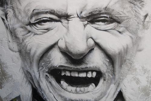 Portrait of author Charles Bukowski.