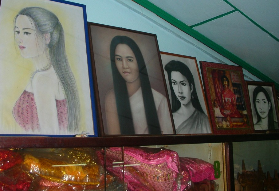 Portraits of Mae Nak at Wat Mahabut shrine.