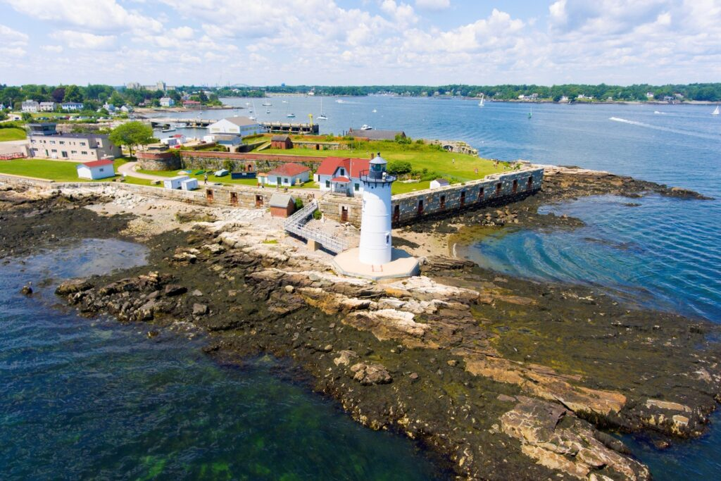 Portsmouth Harbor Lighthouse and Fort Constitution.