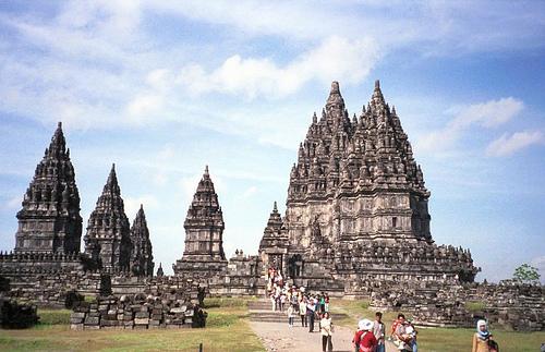 Prambanan temples with tourists