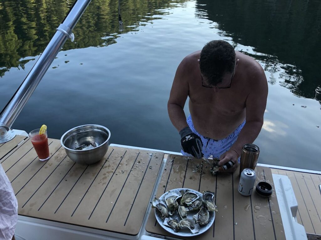 Preparing oysters on Desolation Sound.