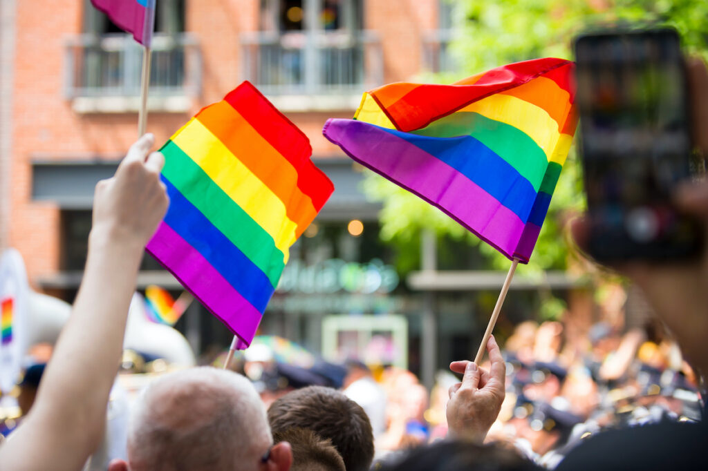 Pride flags during a parade in New York City.