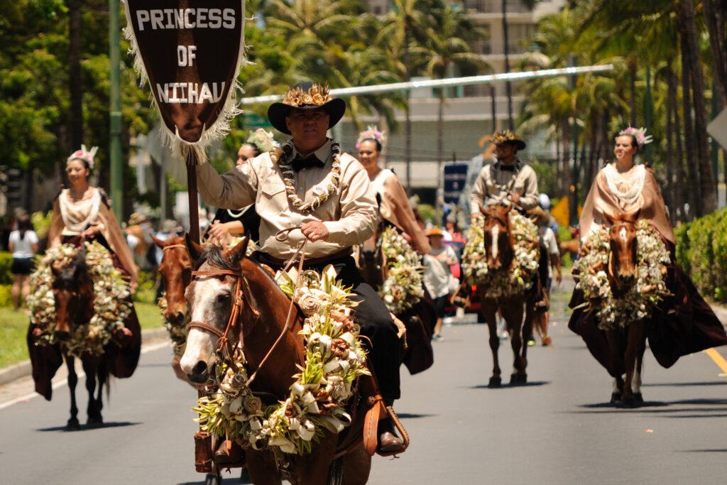 Princess of Niihau horseback riders in a Hawaiian parade.