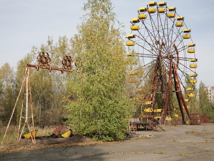 Pripyat's abandoned amusement park.