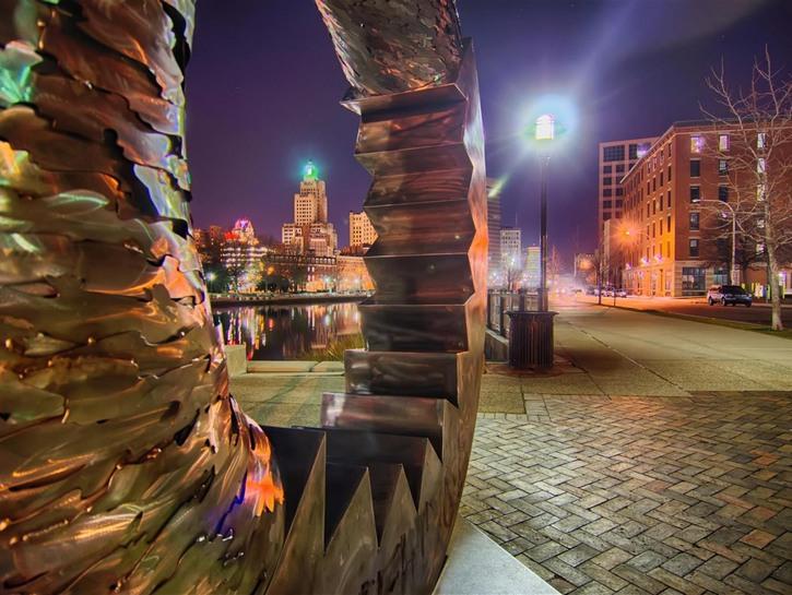 Providence River Park at night