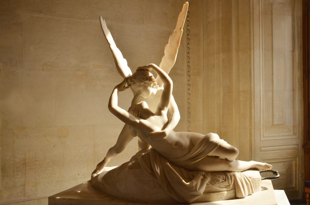 Psyche Revived By Cupid's Kiss inside the Louvre.
