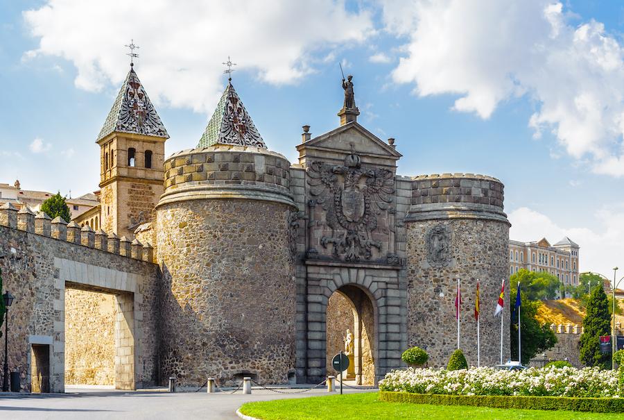 Puerta Bisagra in Toledo, Spain.