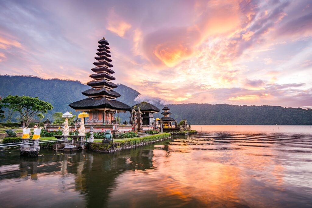 Pura Ulun Danu Bratan Temple in Indonesia.