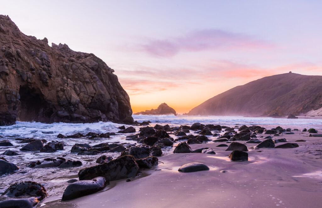 Purple Sand Beach in California.