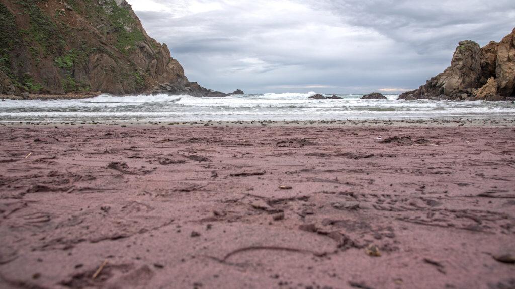 Purple sand in Pfeiffer Big Sur State Park.