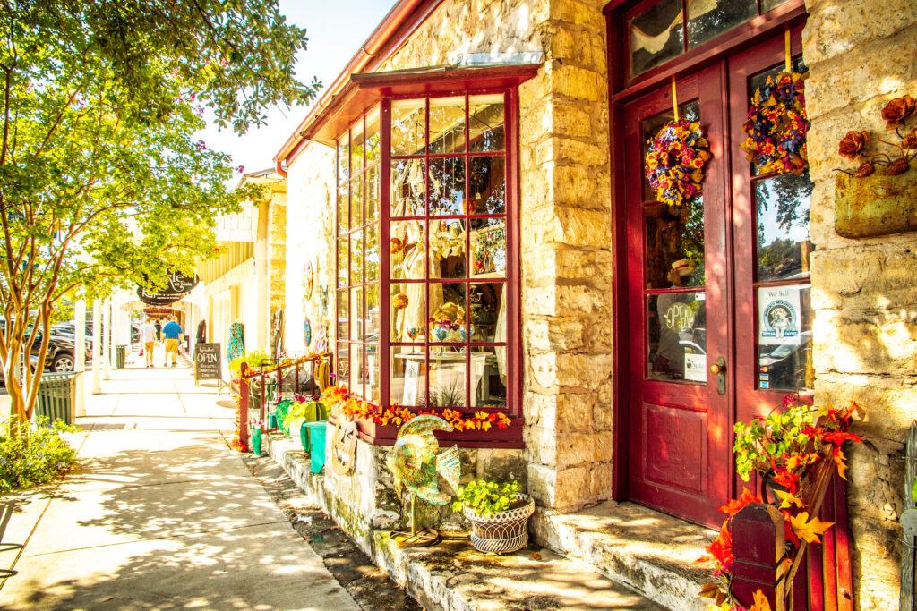 Quaint shops in downtown Fredericksburg.