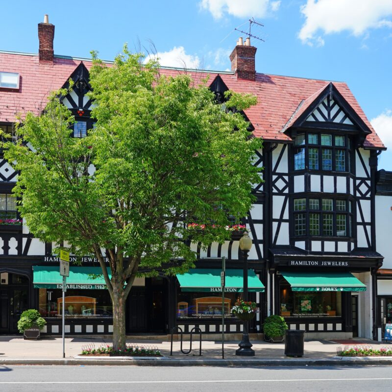 Quaint shops in downtown Princeton, New Jersey.