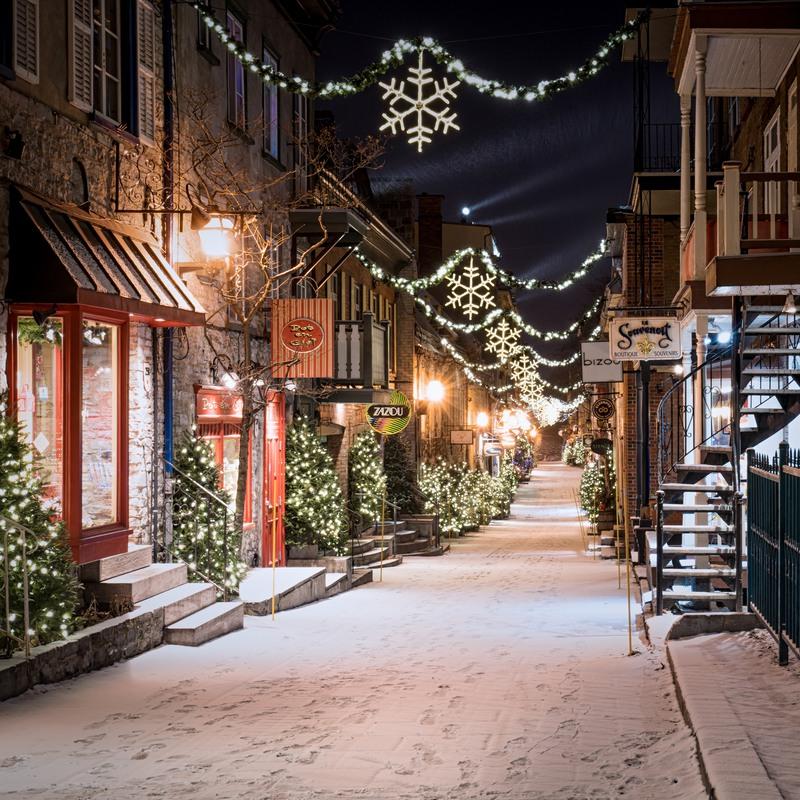 Quebec snow-covered street