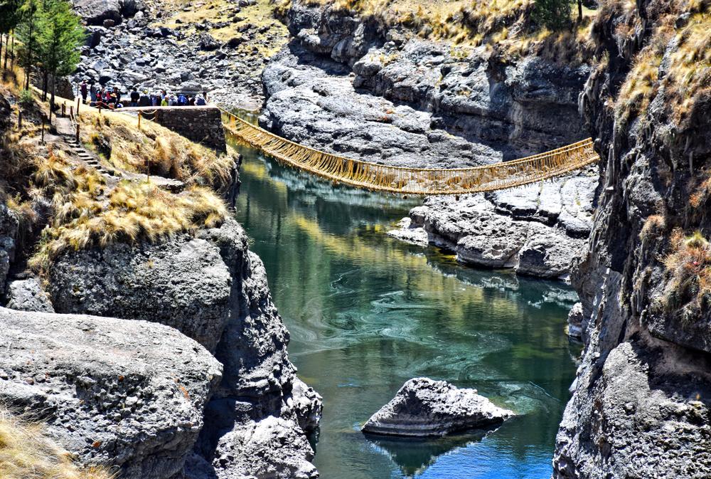 Queshuachaca bridge in Huinchiri, Peru.
