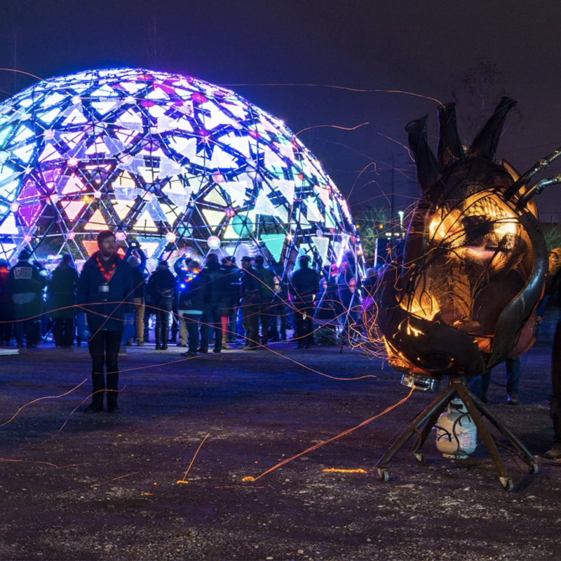 """Radiance Dome"" by Light at Play and ""Fire Heart"" by Richard Cawley"