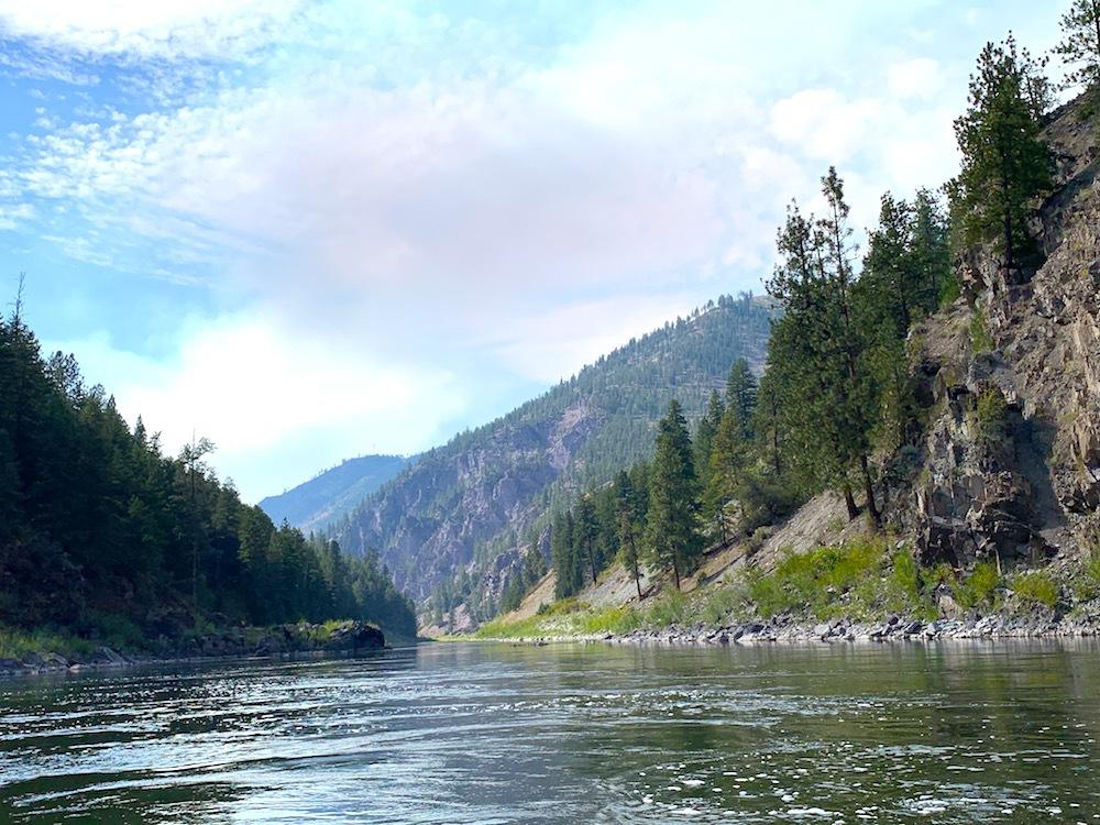 Rafting on a river near Missoula.