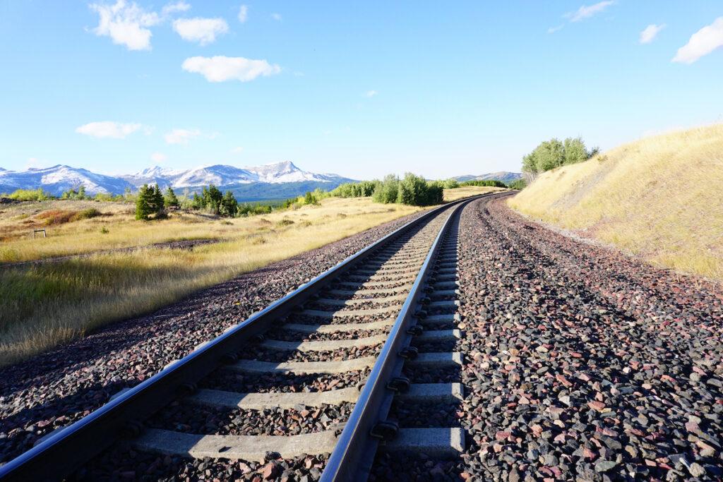 Railroad tracks in Glacier National Park, Montana.