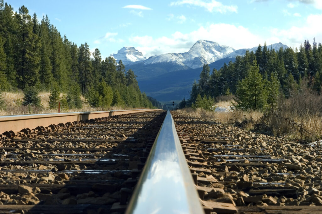 Railroad tracks through the Canadian Rockies.