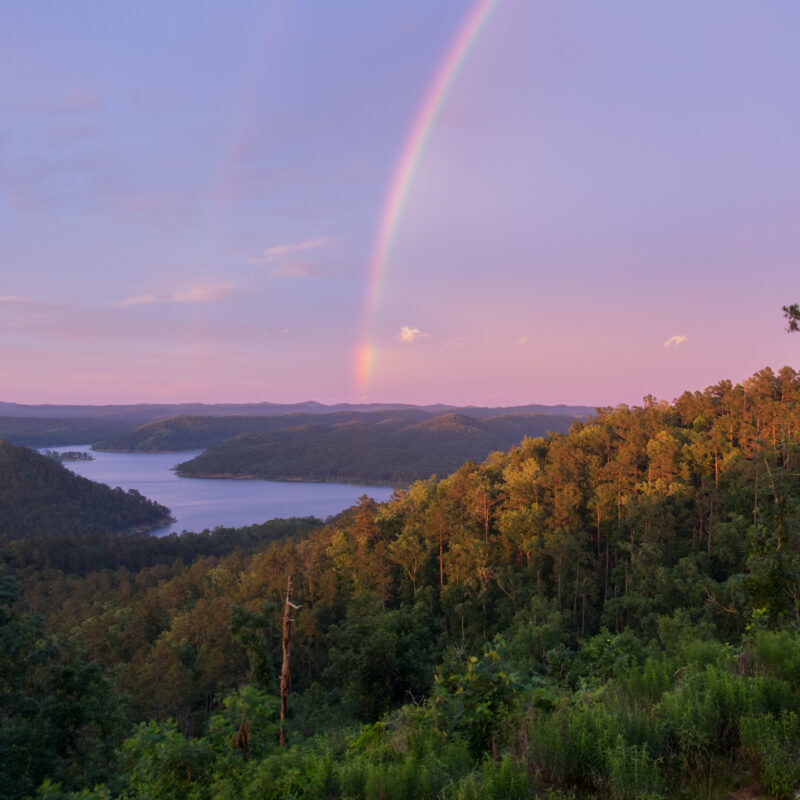 Rainbow at Beavers Bend State Park in Oklahoma.