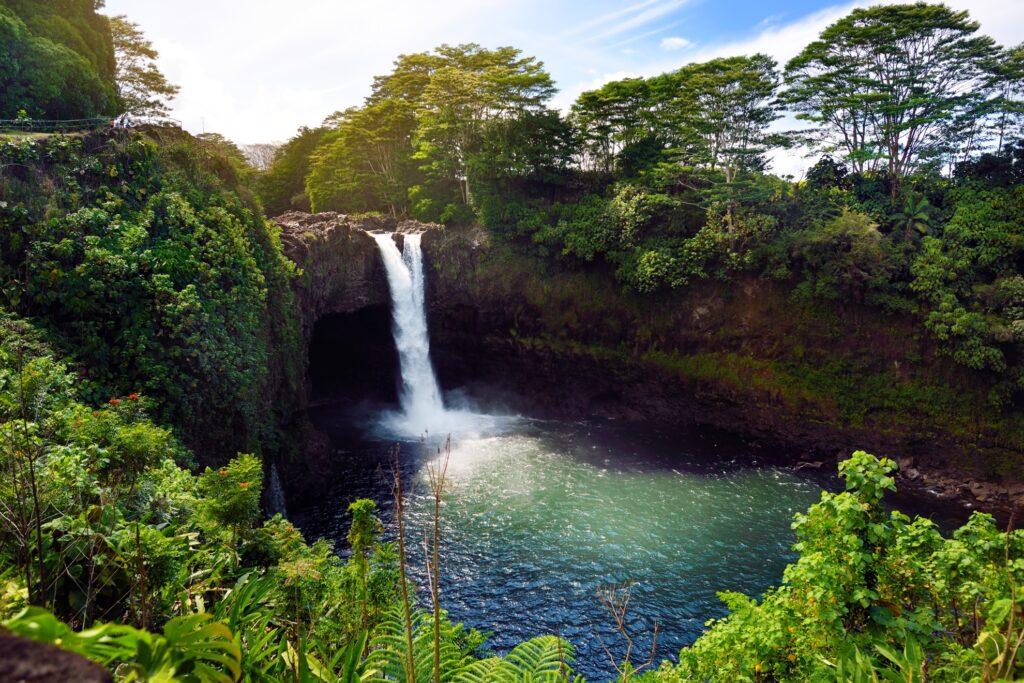 Rainbow Falls waterfall in Hawaii.
