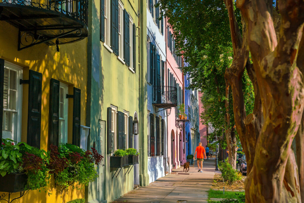 Rainbow Row, Charleston, South Carolina.