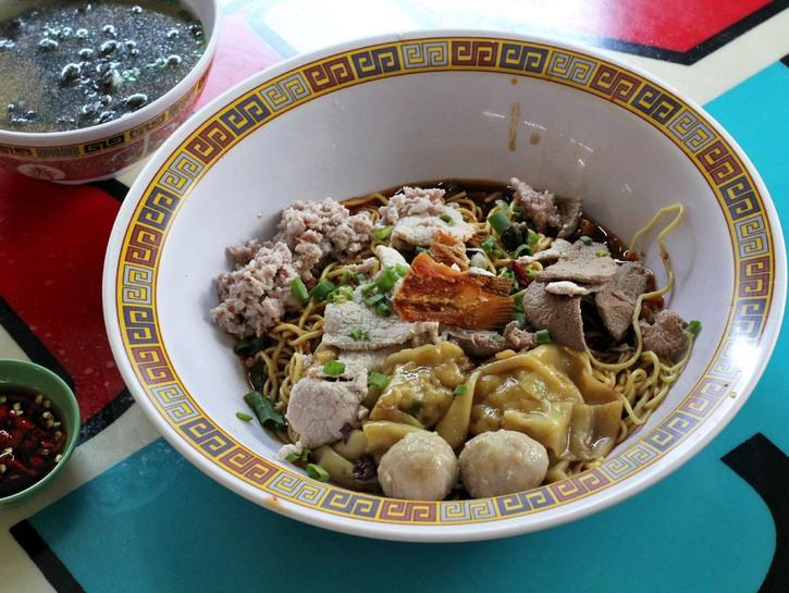 Ramen and dumplings in a bowl, hawker food Singapore