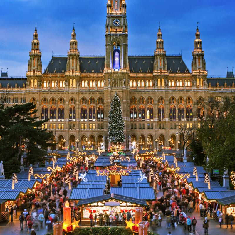 Rathausplatz Market during Christmas in Vienna.
