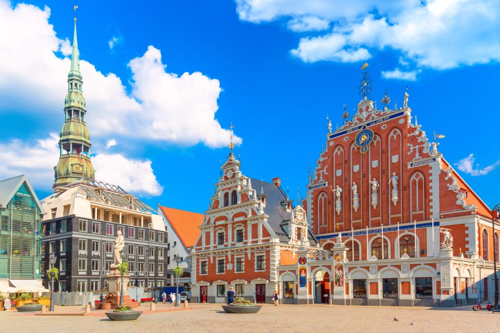 Ratslaukums Square in Old Town, Riga.