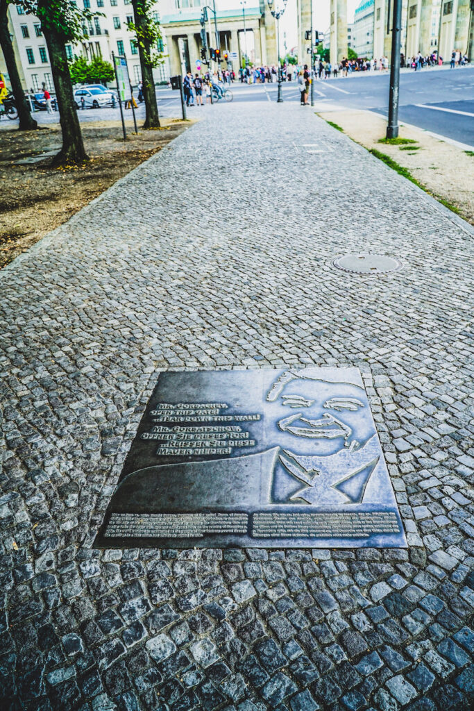 Reagan's Sidewalk Memorial in Berlin, Germany.