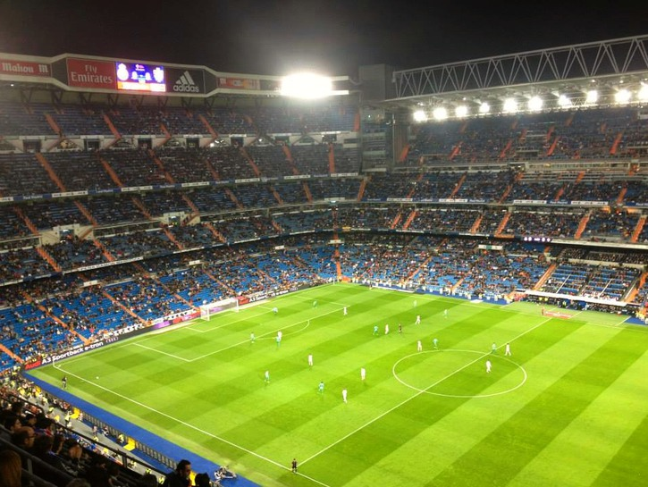 Real Madrid game at Santiago Barnabéu Stadium.