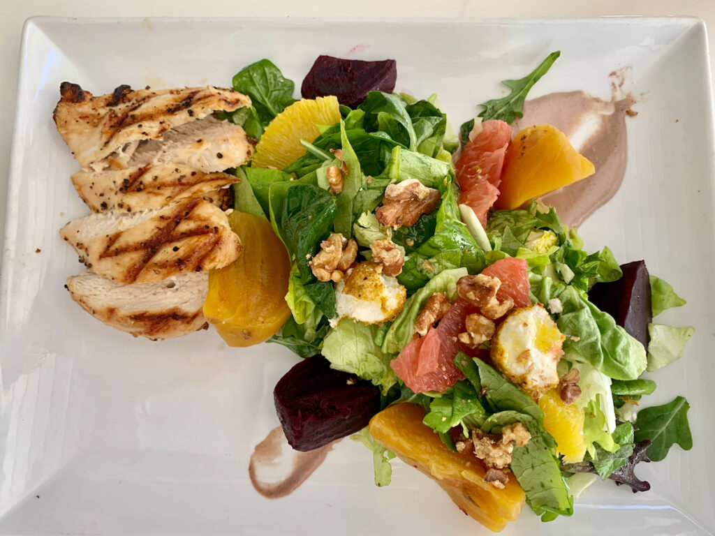 Red and golden beet salad with chicken from Shore Restaurant.