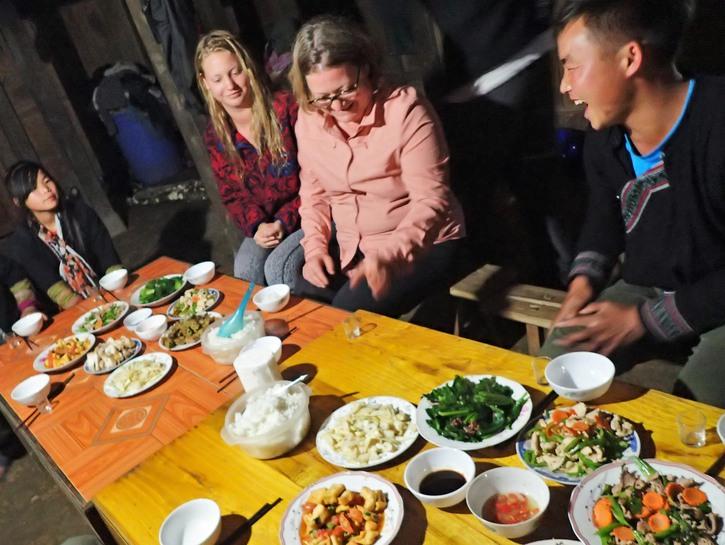 Red Dao homestay dinner, Sapa area, Vietnam.
