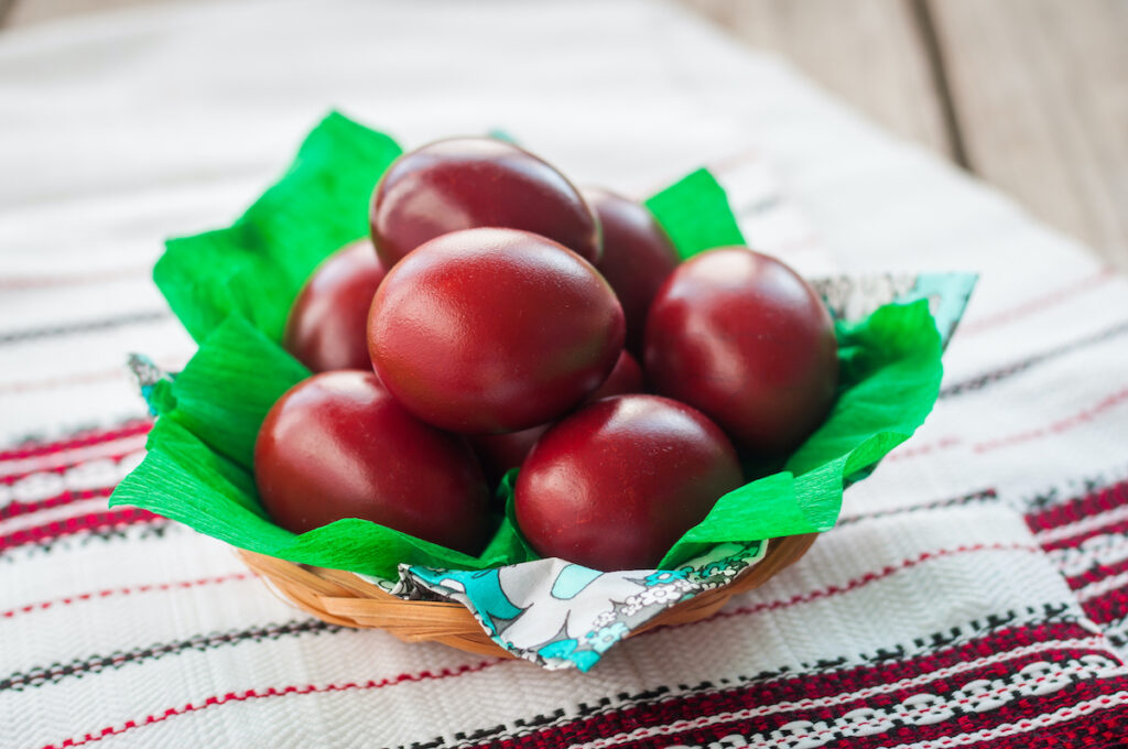 Red Easter eggs.