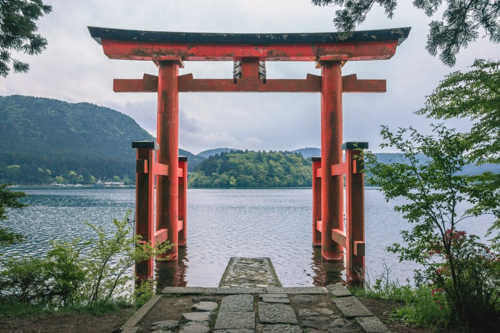 Red gate at the Hakone Shrine in Japan.