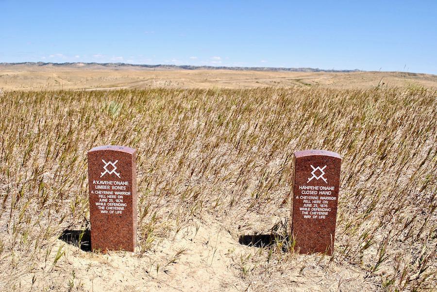 Red granite markers in memoriam of Native American warriors.