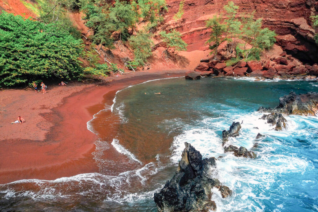 Red Sand Beach in Hana, Maui, Hawaii.