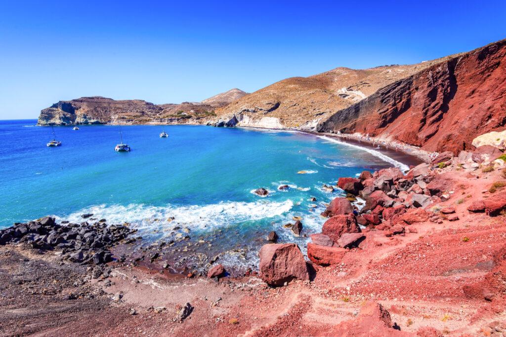 Red Sand Beach in Santorini, Greece.