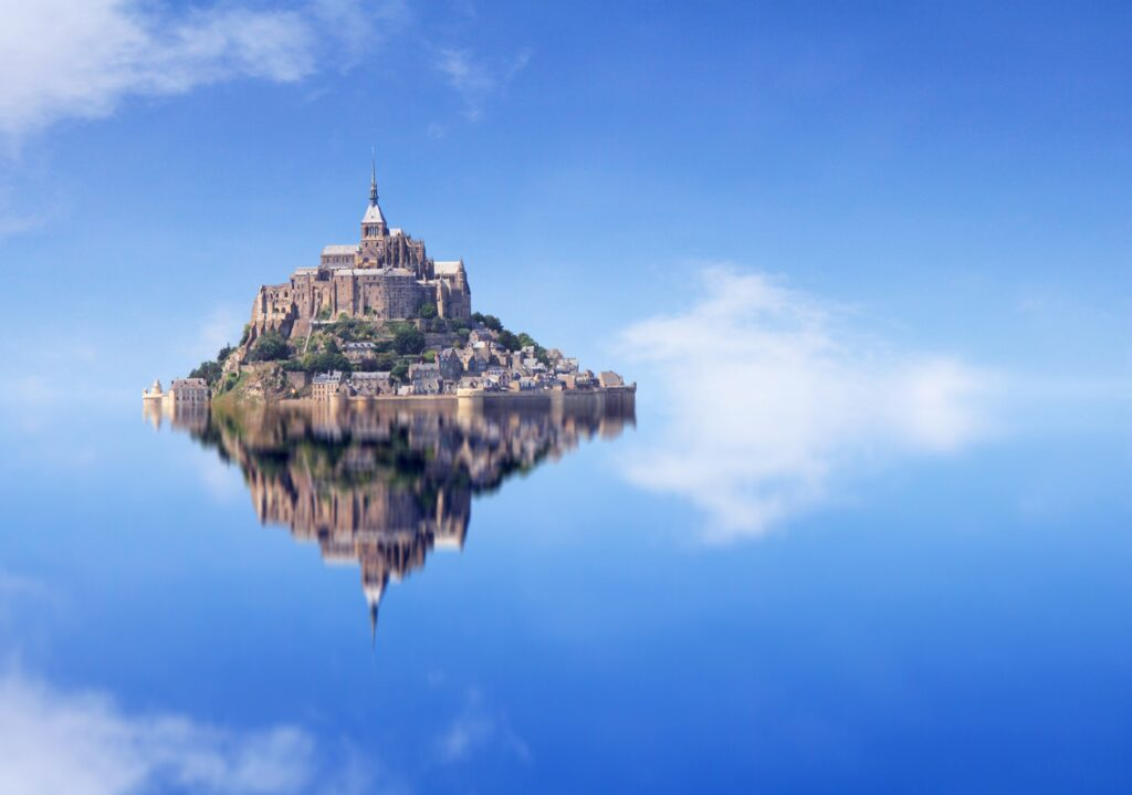Reflection of Mont-Saint-Michel during high tide.