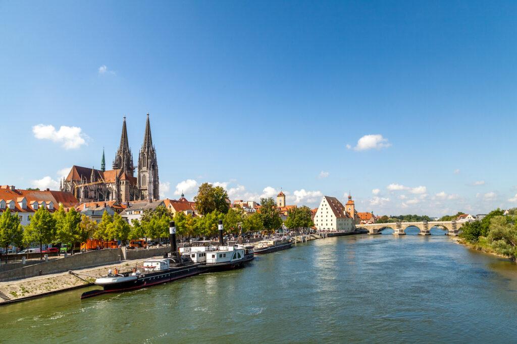 Regensburg, a medieval town in Bavaria, Germany.