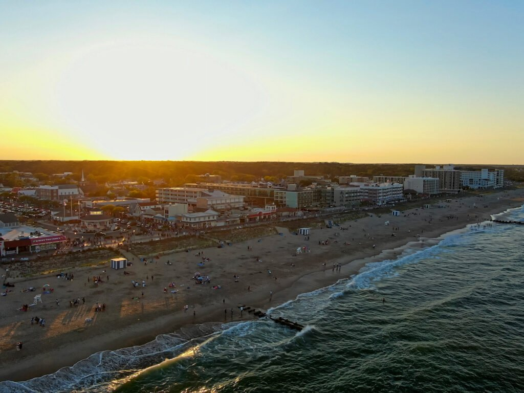 Rehoboth Beach aerial shot, Delaware.