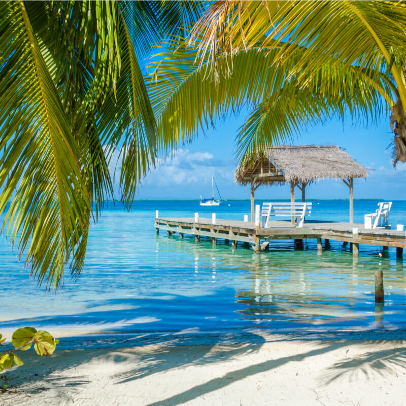 Relaxing doc and ocean view in Belize.