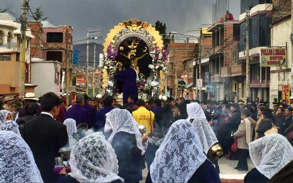religious celebration in the streets of puno, peru