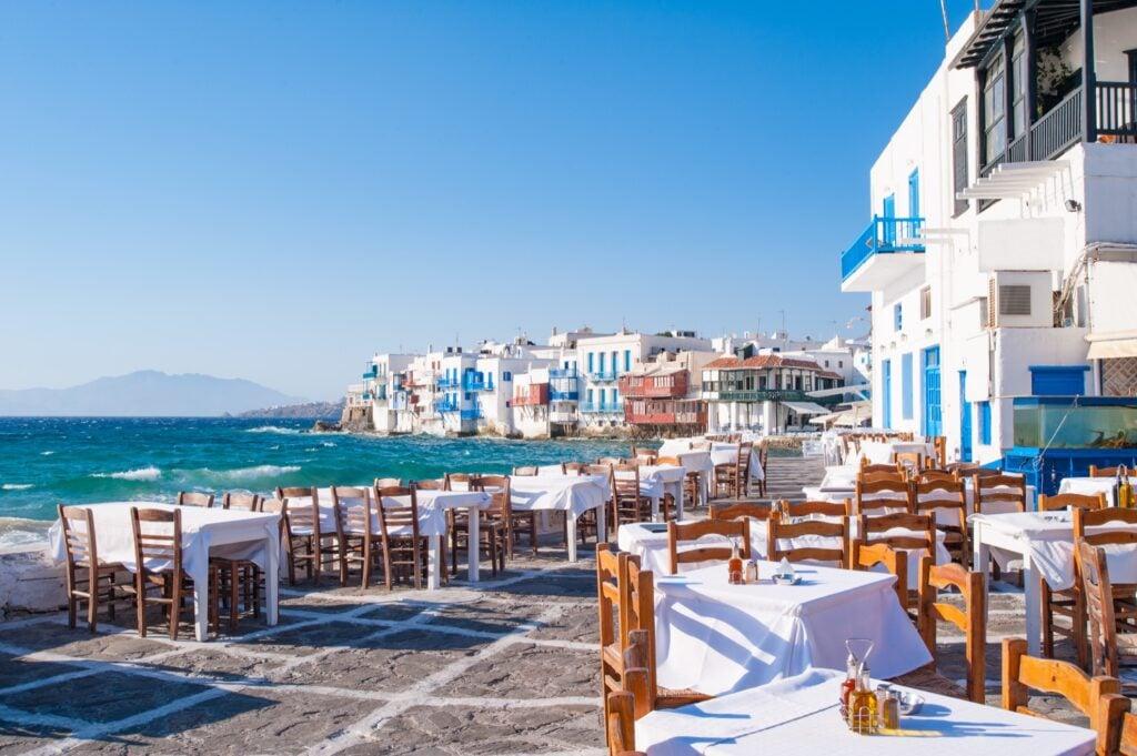 Restaurant on the coast of Little Venice in Mykonos.