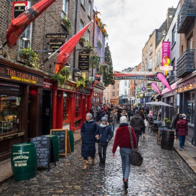 Restaurants and shops in downtown Dublin, Ireland.